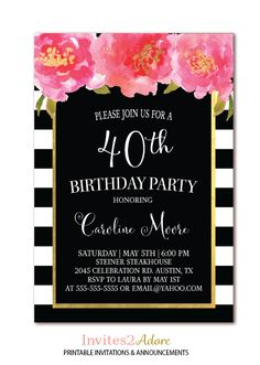 Black White Stripe Birthday Invitation