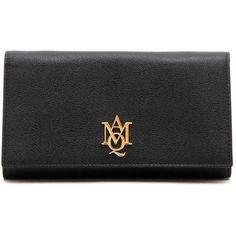 ALEXANDER MCQUEEN Leather Pochette With Logo (€215) ❤ liked on Polyvore featuring bags, handbags, clutches, black, 100 leather handbags, logo handbags, real leather handbags, genuine leather handbags and alexander mcqueen