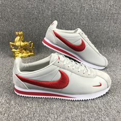 new styles 796ab 457c9 Nike Classic Cortez Nylon Embroidery White Red