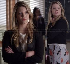 Ali's grey and orange floral skirt and white crossover front top on Pretty Little Liars.  Outfit Details: http://wornontv.net/35583/ #PLL