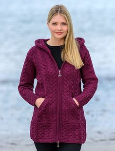 Wool coat with hood, hooded wool coatigan, ladies wool coat