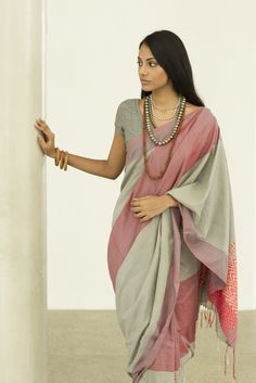 Rali Rosa Grey and Pink Saree from Fashionmart.lk