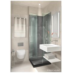 BAROQUINE: Hotelbäder | Standard Bad | 2 qm | HH-Winterhude                                                                                                                                                                                 Mehr Small Bathroom With Shower, Tiny Bathrooms, Bathroom Design Luxury, Bathroom Design Small, Mini Bad, Bathroom Cabinets, Sweet Home, Bathtub, House Design