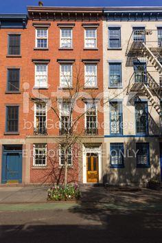 West Village Red Brick Townhouses (Row houses), New York City. – banque photo libre de droits