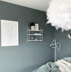 Most gray-greens conjure up images of musty antique stores but this feels modern and just right Teen Boys Room Decor, Boy Room, Grey Wall Color, Wall Colors, Jotun Lady, Lady Grey, Antique Stores, Bedroom Inspo, Decoration
