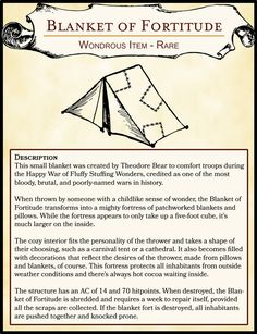 Silly Item - Blanket of Fortitude : DnD Dnd Dragons, Dungeons And Dragons Characters, D&d Dungeons And Dragons, Dnd Characters, Larp, Game Master, Pen & Paper, Dungeon Master's Guide, Dnd Funny