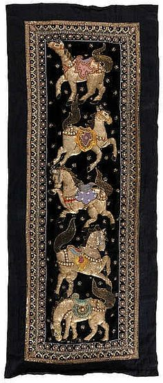 Kalaga. Burmese tapistry. Embroidery on black canvas with beads and spangle