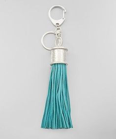 Turquoise Suede Tassel Keychain - KEY386TU-Tee for the Soul