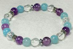 ~ Bracelets by Karen ~ Amethyst, Blue Quartz and Clear Quartz with Silver Spacers