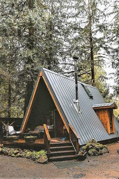 Pin by gonawa on portable buildings ideas Tiny House Cabin, Cabin Homes, Cozy House, Tiny Homes, A Frame Cabin, A Frame House, Cabin In The Woods, Rustic Cottage, Cabins And Cottages