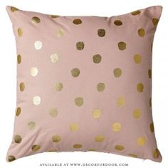 Nude & Metallic Gold Dots Cotton Pillow