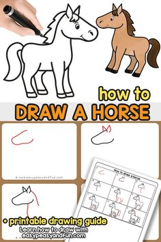 Preschool How to Draw a Horse – a step by step horse drawing tutorial for kids and beginners. Learn to draw a cartoon style horse in no time. Easy Horse Drawing, Horse Drawing Tutorial, Horse Drawings, Drawing For Kids, Animal Drawings, Animal Sketches, Drawing Cartoon Characters, Cartoon Drawings, Easy Drawings