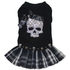 Punk Rock Crystal Skull Tshirt Dog Dress