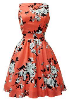 Coral Pink Floral Tea Dress