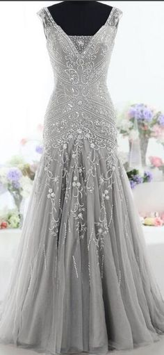 High Quality Silver Mermaid Long Prom Dresses with Beaded
