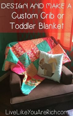 How to design and make a custom crib or toddler blanket/comforter. crib and toddler blanket idea Sewing Hacks, Sewing Tutorials, Sewing Crafts, Sewing Projects, Diy Projects, Sewing Ideas, Fall Projects, Diy Crib, Handmade Baby Gifts