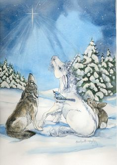 This is from a watercolor painting of mine.  The unicorn foal , wolf, blue jay and bunny are facinated with the Christmas Star.