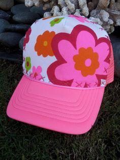 Trucker Hat Neon Pink w/Hand Stitched Vintage by AumoanaDesigns, $25.00