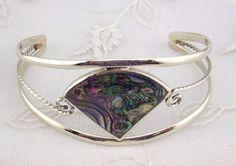 Alpaca Mexican Silver Cuff Bracelet Fan Shape Abalone Shell Fashion Jewelry NEW #Unbranded #Bangle