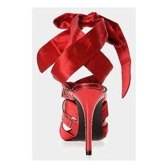 00310edf4 Guess by Marietta red ankle-wrap stiletto sandals with bow ❤ liked on  Polyvore featuring