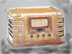 """Old Time Radio"" digital watercolor by Jerry Fess Art"