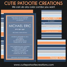 Bar Mitzvah Invitation - B'Nai Mitzvah Invitations - Bat Mitzvah Invitations - Orange Blue Grey White - Custom Colors Available by OneWhimsyChick on Etsy