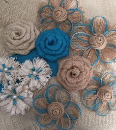 Burlap Flower Assortment Set of 10 Shabby Chic Rustic