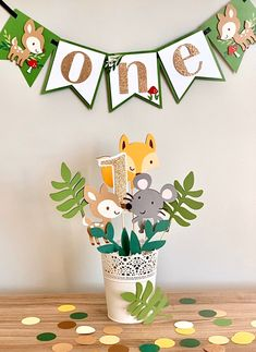 Woodland ONE Banner – ONE baby animals banner – ONE floral banner – Floral Banner – Baby Fox banner – Pink and gold glitter banner – Frida K - Baby Animals Safari Theme Birthday, Boys 1st Birthday Party Ideas, Wild One Birthday Party, Baby Boy 1st Birthday, Animal Birthday, First Birthday Parties, Birthday Decorations, First Birthdays, Safari Party Decorations