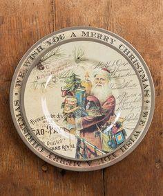 Look at this #zulilyfind! Brown Vintage Santa Plate - Set of Four by Ragon House #zulilyfinds