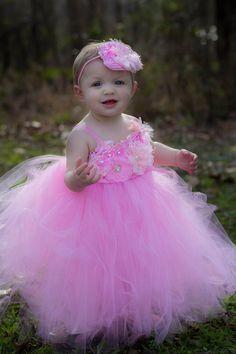 Pink Flower Girl Tutu Dress / Pink Baby Dress by ManaiaBabyDesigns