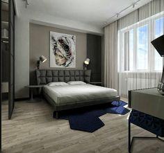 déco chambre adulte grise avec tableau mural