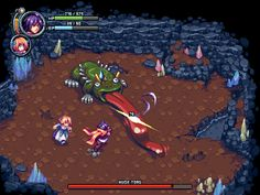 This is a sequence mockup commissioned by Seizui! There are Reize and Lily fighting against a giant toad affected by miasma in a deep cavern. Reize and Lily Battle Mockup League Of Legends, Pixel Characters, Game Data, Pixel Art Games, Game Ui Design, Tech Art, Pokemon, Art Reference, Color Schemes