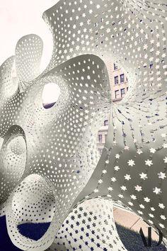 A closeup of the screen. Outdoor Sculpture, Sculpture Garden, Arco Floor Lamp, Seasons Restaurant, Platinum Metal, Isamu Noguchi, Josef Albers, 3d Wallpaper, Luxury Apartments