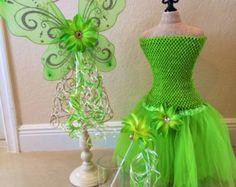 Tutu de campanita, disfraz de Tinkerbell, hadas alas, vestido de campanita, Tinkerbell fiesta, traje de hadas, Tinkerbell fiesta Favor, vacaciones Disney