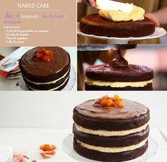Naked cake. INGREDIENTES: ✿Creme de confeiteiro: 1L leite, 6 gemas, 2 colh.(sopa) manteiga, 1 xíc. maizena, 1 ¼ de xíc. açúcar, 2 colh.(chá) essência de baunilha ✿Calda de açúcar: 3 colh.(sopa) açúcar, 3 colh.(sopa) água ✿Massa: 8 ovos, 2 xíc. açúcar, 2 xíc. choc. em pó, 2 xíc. óleo, 2 xíc. água, 4 xíc. farinha de trigo, ½ colh.(sopa) bicarbonato de sódio, 1 ½ colh. (sopa) fermento, manteiga para untar ✿Ganache: 100g choc. ao leite, 1/3 xíc. creme de leite fresco, 1 colh. (sopa) licor de…