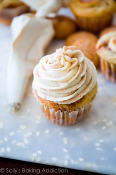 Make super-moist brown sugar cupcakes filled with homemade butterscotch sauce, topped with vanilla frosting and more butterscotch.