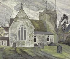 EDWARD BAWDEN, R.A. (1903-1989) SELBORNE I Landscape Art, Landscape Paintings, Landscapes, Little England, Mono Print, Religion, John Piper, Church Building, Royal College Of Art