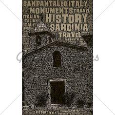 Travel poster designs - San Pantaleo, Sardinia, Italy