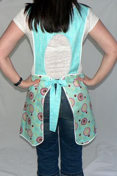 Retro Plus Size Smock Apron  Aqua Blossoms by LauriesGiftsBiz, $40.00