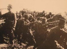 Greek infantry unit ready to charge in the Battla of Bizani, 1st Balkan War, 1913.