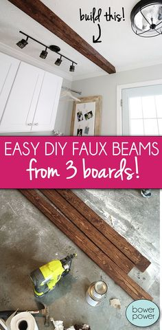 Fantastic diy hacks hacks are readily available on our internet site. Take a look and you wont be sorry you did. Architecture Renovation, Home Renovation, Home Remodeling, Diy Simple, Easy Diy, Wooden Beams Ceiling, Fake Beams On Ceiling, Beam Ceilings, Ceiling Panels
