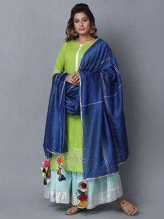 Green Blue Cotton Sharara Suit - Set of 3