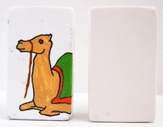 Three wise men camel.  Paint your own nativity set using our letter/picture blocks - free-standing, own-brand ceramic bisque pottery designs.