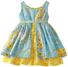 Jelly The Pug Baby Girls' Poem Katy Dress, Blue/Yellow, 18 Months Baby Girl Dress Design, Girls Frock Design, Kids Frocks Design, Baby Frocks Designs, Kids Dress Wear, Kids Gown, Girls Dresses Sewing, Little Girl Dresses, Cotton Frocks For Kids
