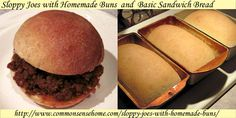 Old fashioned Sloppy Joes recipe that freezes and reheats well, plus a great dough recipe for homemade buns or sandwich bread.