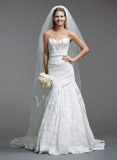Trompete/Meerjungfrau-Linie Trägerlos Herzausschnitt Sweep/Pinsel zug Spitze Brautkleid mit Rüschen Perlen verziert (0025056535) - Vbridal