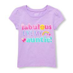 Toddler Girls Short Sleeve Glitter 'Fabulous Like My Auntie!' Emoji Graphic Tee