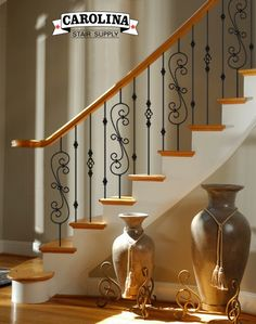 Check out this staircase layout I created at Carolina Stair Supply, Inc. Staircase Railing Design, Wrought Iron Staircase, Balcony Railing Design, Iron Stair Railing, Staircase Remodel, Staircase Makeover, Stair Supplies, House Main Gates Design, Traditional Staircase