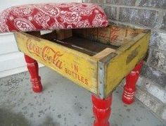 Upcycled Soda Crate Projects – The Owner-Builder Network Best Picture For Wooden crates bookshelf cl Old Coke Crates, Coke Crate Ideas, Wine Crates, Crate Furniture, Painted Furniture, Furniture Ideas, Crate Ottoman, Diy Ottoman, Crate Decor