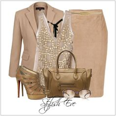 CHATA'S DAILY TIP: A suit in a basic colour, such as stone, is a must-have for all working women as it co-ordinates with every single colour on your colour chart. We love a marvellous sequinned top for added glamour. Bronze accessories add the element of interest. COPY CREDIT: Chata Romano Image Consultant, Marida Pretorius http://chataromano.com/consultant/marida-pretorius/ IMAGE CREDIT: Stylish Eve #chataromano #imageconsultant #colour #style #fashion